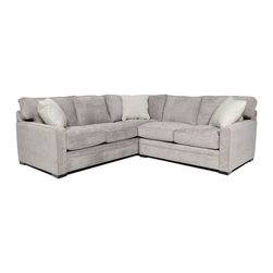 Axis 2 Piece Sectional - Wrapped in a smooth, light gray-hued fabric, the Axis sectional has a soft contemporary vibe, allowing it to accommodate an array of interiors that require ample seating and sophisticated styling. The narrow track arms, welted seams and dotted white accent pillows refine the design, while plush cushions make the cut for comfort.