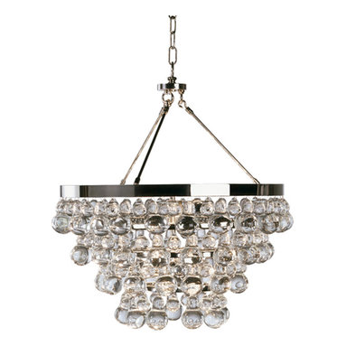 Bling Chandelier by Robert Abbey - Bling chandelier features crystal drops. Finish available in polished nickel and deep patina bronze. Available in a chandelier and wall sconce version. Can be converted to a semi-flush mount by mounting the center canopy directly to ceiling canopy. Four 60 watt, 120 volt, B11 torpedo candelabra lamps not included. General light distribution. Height is adjustable 25.25-61.25 inches. 20.5 inch diameter x 22H.