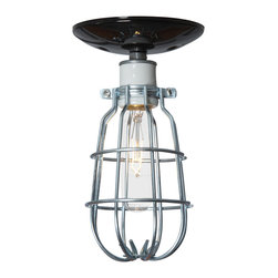 Industrial Light Electric - Ceiling Mount Cage Light, Black Canopy, 40 Watt Tube Bulb - This Custom Made to Order Ceiling Mount Cage Light comes with