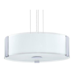 Eglo Lighting - Varano 91255A - Pendant Lamp | Eglo - Eglo Lighting Varano�_91255A�_Pendant Lamp features�_chrome finish with coated white shade. Manufacturer:�_Eglo LightingSize:�_16.1 in. diameter x 59 in. height Light Source:�_3 x 60 watt A19 - not included Certifications: ETL Location: Dry Dimmable w/ standard incandescent dimmer - not included