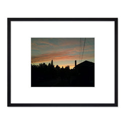 """Hip Pictures - """"Into the Night (Warm)"""" - 11x14 - Eco-Friendly Black Rubberwood Frame 16x20 - Coming up the east side of Capitol Hill in Seattle, I just had to pull over and snap the sunset sky at the end of a long, beautiful summer day."""