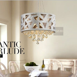 JollyHome Drum Crystal Chandeliers Hollow Out