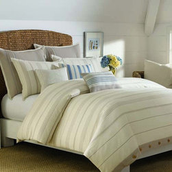 Nautica - Nautica Lagoon Heights Duvet Cover (Shams Sold Separately) - This white duvet cover is the ideal way to update the decor of your bedroom. The simple striped pattern and off-white coloring are subtle enough to fit into a variety of styles,and because it's made from 100 percent cotton it's comfortable as well.