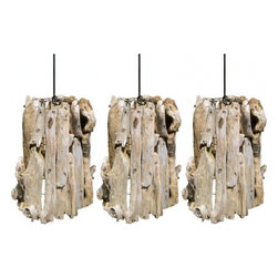 ecofirstart - Set of Three Driftwood Pendants - Your fondness for the beach makes these lighting fixtures the perfect choice for your home. The unique driftwood pendants are stunning to look at and capture the coastal chic style you love.