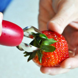 StemGem Strawberry Stem Remover - Take the hassle out of hulling strawberries and other soft fruit with the StemGem Strawberry Stem Remover. No more fiddling with knives or other clumsy utensils. This unique tool is simple to use, easy to clean and most of all - fun to see in your kitchen drawer!