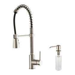 Kraus USA - Kraus Single Lever Pull Down Kitchen Faucet, Stainless Steel, Soap Dispenser - Update the look of your kitchen with this multi-functional Kraus pull-out faucet. Kraus kitchen faucet blends quality and durability with elegance and style. Bring the functionality and rugged style of a professional kitchen into your home with the Kraus KPF 1612 Pull-Down Commercial Style Faucet.