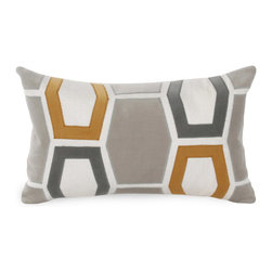 """V Rugs & Home - V Rugs & Home Betsy Gray/Gold Pillow - Geometric shapes make a bold statement on the square Betsy throw pillow. Hexagon shapes form its modern honeycomb pattern with chic appeal. 20""""W x 12""""H; 100% linen; Embroidered cotton velvet appliques; Smoke, charcoal gray and mustard yellow; Down feather pillow insert included; Made in the USA; Dry clean only"""