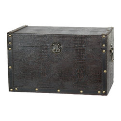 Decorative Leather Wooden Trunk - Decorative trunk that is great for storage and decoration Great Tressure Box Wood leather trunk Our warm and welcoming steamer trunk brings back days of old time. Remember how excited you are when you were a little kid to look into your grandma's old chest, our decorative trunks will bring back those memories and help you create some new ones too. Our hope chest boxes are all handcrafted and tailored to enhance the existing decor of any room in the home. Great to use for your very own treasure chest!