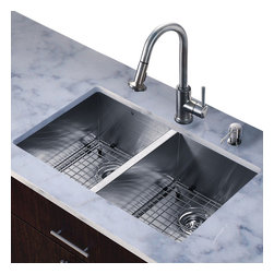Vigo - All in One 32in.  Undermount Stainless Steel Double Bowl Kitchen Sink and Faucet - Add elegance and style to your kitchen with a VIGO All in One Kitchen Set featuring a 32in.  Undermount kitchen sink, faucet, soap dispenser, two matching bottom grids and two sink strainers.