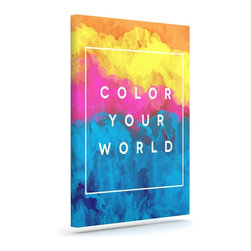 """Kess InHouse - Galaxy Eyes """"Color Your World"""" Rainbow Paint Wrapped Art Canvas (20"""" x 16"""") - Bring your outdoor patio to life with this artistic outdoor canvas wrap featuring gorgeous artwork by KESS InHouse. These canvases are not only easy to hang and remove but also are the perfect addition to your patio collection. These canvases are stretched around a wooden frame and are built to withstand the elements and still look artistically fabulous. Decorating your patio and walls with these prints will add the splash of art and color that is needed to bring your patio collection together! With so many size options and artwork to choose from, there is no way to go wrong with these KESS Canvas Wraps!"""