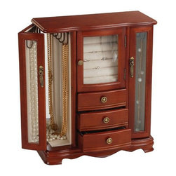 Mele & Co. - Richmond Jewelry Box in Walnut Finish - Traditional style. Upright. Three open drawers. Dual necklace closets with etched glass doors, mirrored back and house six hooks each. Ring roll closet with etched glass door. Antiqued brass tone drawer and door pulls. Scroll-footed platform base. Hand lined in ivory sueded fabric. Walnut finish. 11 in. W x 5 in. D x 13 in. H