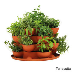 Handy Pantry - Stack & Grow Stackable Terracotta Garden Planter - This amazing,stackable,self-watering garden planter for vertical gardening,growing herbs,flowers,strawberries,cactus and house plants holds up to 20 plants. Great for indoors,or outdoors,combine multiple Stack & Grow planters to stack taller.
