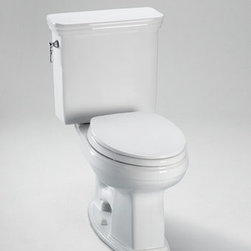 """Toto - Toto CST424EFG#01 Cotton Eco Promenade Eco Promenade Two Piece - 1.28GPF High Profile Elongated Toilet with SanaGloss (Less Seat) When it comes to Toto, being just the newest and most advanced product has never been nor needed to be the primary focus. Toto s ideas start with the people, and discovering what they need and want to help them in their daily lives. The days of things being pretty just for pretty s sake are over. When it comes to Toto you will get it all. A beautiful design, with high quality parts, inside and out, that will last longer than you ever expected. Toto is the worldwide leader in plumbing, and although they are known for their Toilets and unique washlets, Toto carries everything from sinks and faucets, to bathroom accessories and urinals with flushometers. So whether it be a replacement toilet seat, a new bath tub or a whole new, higher efficiency money saving toilet, Toto has what you need, at a reasonable price. High profile, elongated close coupled toilet with 12"""" rough-in. High efficiency (4.8 Lpf/1.28 Gpf) flush. Tank with lid, fittings, chrome plated trip lever, less seat.  Seat Not Included WaterSense certified, high efficiency toilet (4.8 Lpf/1.28 Gpf) Traditional design with stately lines SanaGloss : Super smooth, ion barrier glazing cleans your toilet bowl with every flush A powerful and quiet flush Upgrade with a SoftClose  seat, or a Washlet  Wide, computer designed, fully glazed trapway Large water surface"""