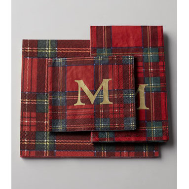 """Caspari - Caspari 100 Royal Plaid Personalized Guest Towels/Buffet Napkins - Personalized paper napkins and guest towels from Caspari add style to any occasion. Made in Germany. Triple-ply cocktail napkins are 5""""Sq. Guest towels/buffet napkins are 8"""" x 4.5"""". Paper made from Forest Stewardship Council-certified pulp. The F..."""