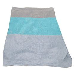 Brooklyn Beach - Linen Beige / Turquoise / Sand Beach Blanket - 100% yarn-dyed handkerchief linen beach blanket. Soft, colorful, unique. The ultimate blanket for the beach lover who has it all! Relax that bum on some style, not on a crappy old bedsheet (or 60's wool army blanket, what were my parents thinking!?)