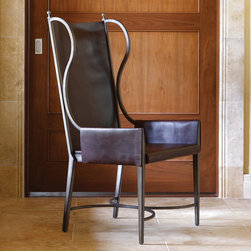 Global Views - Global Views Iron/Leather Wing Chair - This sleek leather wing chair by Global Views lends a note of distinction to a contemporary living room. Finished in stately black leather, the curved accents of the furnishing's iron frame provide character along the sides and at the stretcher. Top grain leather; Iron frame with antique nickel finish; Made of natural materials and shipped with recyclable packaging