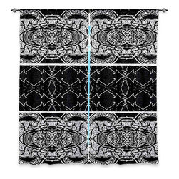 """DiaNoche Designs - Window Curtains Lined by Susie Kunzelman Black Curtain - Purchasing window curtains just got easier and better! Create a designer look to any of your living spaces with our decorative and unique """"Lined Window Curtains."""" Perfect for the living room, dining room or bedroom, these artistic curtains are an easy and inexpensive way to add color and style when decorating your home.  This is a woven poly material that filters outside light and creates a privacy barrier.  Each package includes two easy-to-hang, 3 inch diameter pole-pocket curtain panels.  The width listed is the total measurement of the two panels.  Curtain rod sold separately. Easy care, machine wash cold, tumble dry low, iron low if needed.  Printed in the USA."""