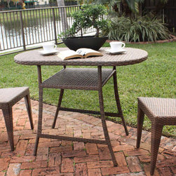 Patio/Outdoor Furniture - The Key Biscayne collection by Panama Jack was developed with a woven synthetic wicker called Viro. The pieces incorporate a tubular extruded aluminum frame finish that will not rust. The honeymoon 3-piece set is only available as a complete set. It is designed to not require cushions or glass. Underneath the woven top is a thin sheet of plexiglass that keeps a strong surface.
