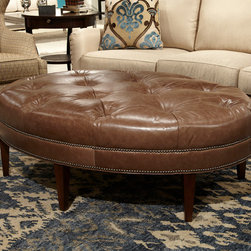 Huntington House products - 2004E-55 tufted leather ottoman from Huntington House Furniture