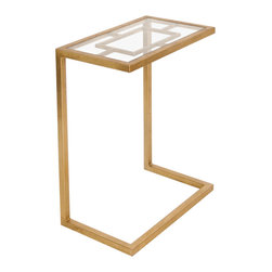 Worlds Away - Worlds Away Gold Leafed Cigar Table with Clear Glass Top JAMES G - Worlds Away Gold Leafed Cigar Table with Clear Glass Top JAMES G