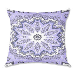 DiaNoche Designs - Pillow Linen - Monika Strigel Fairy Dream Mandala Purple - DiaNoche Designs works with artists from around the world to create astouding and unique home decor products.  Add a little texture and style to your decor with our Woven Linen throw pillows.  The material has a smooth boxy weave.  Each pillow is machine loomed, then printed and sewn ALL IN THE USA!!!  100% smooth poly with cushy supportive pillow insert with a hidden zip closure. Dye Sublimation printing adheres the ink to the material for long life and durability. Double Sided Print, machine wash upon arrival for maximum softness. Product may vary slightly from image.