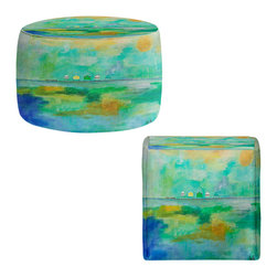 DiaNoche Designs - Ottoman Foot Stool by Laurie Mills - Canal Houses - Lightweight, artistic, bean bag style Ottomans. You now have a unique place to rest your legs or tush after a long day, on this firm, artistic furtniture!  Artist print on all sides. Dye Sublimation printing adheres the ink to the material for long life and durability.  Machine Washable on cold.  Product may vary slightly from image.