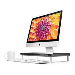 Satechi - Satechi F1 Smart Monitor Stand-Four USB Ports-Headphone/Mic Extensions, Black - *Mac and other accessories not included. Stand only for sale.