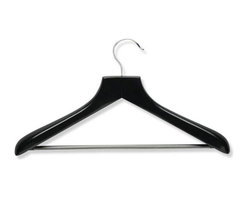 Honey Can Do - Curved Wood Suit Hanger- Ebony - Contoured shape. Maintains proper coat & shirt shape. Grooved-grip bar. Keeps pants in place. Premium wood. Heavy-duty construction. 17.75 in. L x 1.5 in. W x 10.75 in. H (0.121 lbs.)Honey-Can-Do HNG-01524 Curved Wood Suit Hanger, Ebony. Hang and organize your finest suits in style with the Ebony Wood Wide Shoulder Suit Hanger. Keeps coordinating suit components stored conveniently on the same hanger and are designed to help garments maintain a just-pressed look. Features Solid hardwood construction with a deep finish. Large sturdy hanging hook has a polished chrome finish and swivels. Trouser bar holds coordinating suit pants. Extra wide rounded shoulders prevent unsightly hanger marks on suit shirt and jacket. Contoured design helps maintain the natural shape of suit jacket. High gloss Ebony finish adds warmth and sophistication to a closet decor. A gorgeous upgrade for any closet.