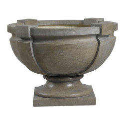 Kenroy - Kenroy 60075 Square Strap Urn - Garden - With wonderful shape and texture, this large strap urn combines fired earth and rustic simplicity in a dark tuscan earth finish.   Indoors or out, this decorative ornament is sure to be a welcome addition to any decor.