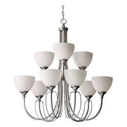 Feiss - Feiss F2729/6+3BS Morgan Brushed Steel 9 Light Chandelier - Feiss F2729/6+3BS Morgan Brushed Steel 9 Light Chandelier