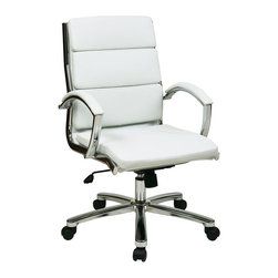 Office Star - Work Smart FL Series FL5388C-U11 Mid Back Executive White Faux Leather Chair - FL5388C-U11 Mid Back Executive White Faux Leather Chair belongs to FL Series Collection by Work Smart Series Mid Back Executive White Faux Leather Chair with Polished Aluminum Finish Padded Arms and Base Office Chair (1)
