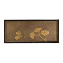 Belle & June - Ginko 2 Drink Tray - Elegant gingko is a symbol of longevity, hope, resilience and peace — a perfect vibe for your favorite setting. Use this handmade lacquered tray to serve drinks, display cherished objects or simply sit out and be lovely.