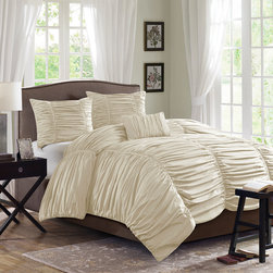 Madison Park - Madison Park Delancey 4 Piece Comforter Set - The Delancey Comforter Set is where fun meets comfort. The face of the comforter and shams are manipulated with rouched fabric that gives a billowy and soft look while seams down the length of the fabric to provide structure and give the illusion of a scalloped edge to the end of the bed. This comforter is made from 180 thread count cotton percale with a polyester filling and a microfiber reverse. Comforter & Sham: 100% cotton 180TC percale printed fabric on face, micro fiber back comforter with 270g/m2 poly fill; Oblong Pillow: cotton or CVC 180TC cover with rushed trim and pintuck on face side, rushed fabric around, poly fill; Square Pillow: cotton 180TC percale fabric cover f, poly fill.