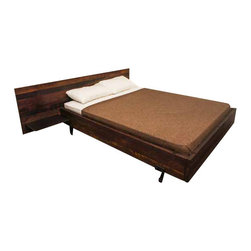 Nuevo Living - Andrew Bed, King - You'll be queen or king for more than just the day with this bed! Made from beautiful reclaimed wood with a solid cast iron base, this platform-style bed comes with a unique headboard. And the royal treatment doesn't stop there because the built-in bedside tables offer room for a cup of tea and an alarm clock, so you won't be late for all those noble engagements.