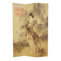 Oriental Furniture - 6 ft. Tall Asian Beauty Bamboo Room Divider - This stunning room divider depicts an Asian beauty strolling amongst the butterflies. It is crafted of bamboo matchsticks in a sleek, frameless design.