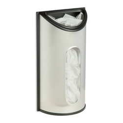 """Stainless Steel Bag Saver - Honey-Can-Do KCH-02989, Stainless Steel Bag Saver.  Mount this easy to use dispenser on a wall or inside a shelf for convenient, easy access.  Stores 30 plastic grocery bags.  Simply tuck them into the top opening, and pull them out from the wide dispensing area on the front of the holder.  Durable stainless steel construction.  3.25"""" L x 6.625"""" W x 12.25"""" H"""