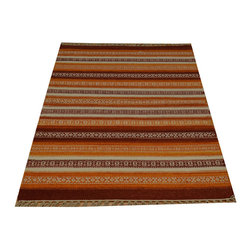 100% Wool Striped Durie Kilim Flat Weave 3'x5' Hand Woven Oriental Rug SH15794 - Soumaks & Kilims are prominent Flat Woven Rugs.  Flat Woven Rugs are made by weaving wool onto a foundation of cotton warps on the loom.  The unique trait about these thin rugs is that they're reversible.  Pillows and Blankets can be made from Soumas & Kilims.