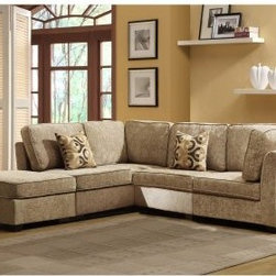 Ridgetown 5 Piece Chenille Sectional - Use the pieces of the Ridgetown 5 Piece Chenille Sectional together or scatter them throughout a room - they offer complete comfort either way. Crafted with soft beige chenille fabric upholstery, this streamlined sectional boasts two armless chairs and two corner seats, outfitted with plush back cushions, toss pillows, and tapered wood legs. A coordinating ottoman is included.About Homelegance, Inc.Homelegance takes pride in offering only the highest quality home furnishings that incorporate innovative design at the best value. From dining sets to mirrors, sofas, and accessories, Homelegance strives to provide customers with a wide breadth and depth of selection as well as the most complete and satisfying service available for their category. Homelegance distribution centers are conveniently located throughout the United States and Canada.