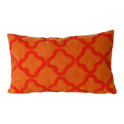 "Crochet Tile Orange Print 12"" X 20"" Throw Pillow - This wonderful indoor / outdoor decorative throw pillow looks great in living rooms or patios or wherever you want a dash of color. Made of 100% polyester microfiber. The cover has a zipper closure so you can take out the fiberfill inner pillow for hand-washing if you need to. The pillow measures 12 inches by 20 inches."