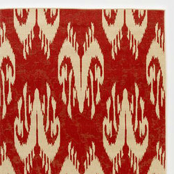 Red Ikat Rio Indoor-Outdoor Rug - My favorite feature about outdoor rugs is how easy they are to keep clean; simply hose it down and you are done!