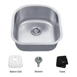 Kraus KBU15 20 inch Undermount Single Bowl 16 gauge Stainless Steel Kitchen Sink -