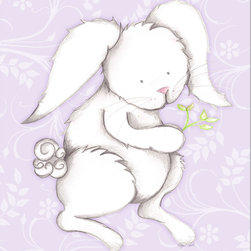 "Doodlefish - Bonny Bunny Lavender - Bonny Bunny is an 18"" x 18"" Gallery Wrapped Giclee Print that is a mix of graphical elements and a drawing of a precious little bunny with a cottontail and long whiskers.  Choose the background color and the background pattern to match your child's room,  Add your child's name or even your favorite pet.  This artwork is also available mounted in a painted frame of your choice.    The finished size of the mounted piece is approximately 22""x22""."