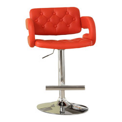 Homelegance - Homelegance Ride Tufted Red Airlift Swivel Stool (Set of 2) - A fun and unique way to add a little color to your casual recreation or dining room is the Ride collection. Offered in a variety of contemporary colors, shapes and sizes, each bar stool features a gas lift mechanism that allows for the stool to rise and descend with the simple touch of a lever. Sold in 2-piece per carton.