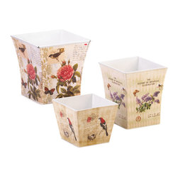 KOOLEKOO - Botanical Garden Planter Trio - Three delightful planters decorated with the splendor of a busy garden. Each one has a vintage-inspired botanical illustration featuring butterflies, birds, and blooms in striking colors that will multiply the beauty of your growing greenery.