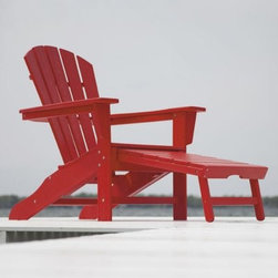 POLYWOOD® South Beach Ultimate Adirondack Chair with Hideaway Ottoman - The perfect spot for lazy summer days the POLYWOOD South Beach Ultimate Adirondack Chair with Hideaway Ottoman will keep you comfy and protected year after year. Expertly constructed of ultra-durable HDPE POLYWOOD synthetic lumber this commercial-grade patio chair is contoured for your comfort and offers the look and feel of painted wood without the upkeep hassle. Designed to weather the worst environmental stresses this no-chip chair will maintain its luster and strength while resisting corrosive insects fungi and salt spray. This classic Adirondack chair includes a handy hideaway ottoman and is available in seven fade-resistant colors accented by stainless steel hardware. Made in the USA. About Poly-WoodThe advantages of Poly-Wood Recycled Plastic are hard to ignore. Poly-Wood absorbs no moisture and will NOT rot warp crack splinter or support bacterial growth. Poly-Wood is also compounded with permanent UV-stabilized colors which eliminates the need for painting staining waterproofing stripping and resurfacing. This material is impervious to many substances including salt water gasoline paint stains and mineral spirits. In addition every Poly-Wood product comes with stainless steel hardware. Poly-Wood is extremely easy to clean and maintain. Simple soap and water is all you need to get rid of dirt and make your furniture look new again. For extreme cleaning needs you can use a 1/3 bleach and water solution. Most Poly-Wood furnishings are available in a variety of classic colors which allow you to choose your favorite or coordinate with the furniture you already have. This is sure to be a piece that you will be proud to own for a lifetime.
