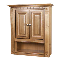 None - 2-door Heritage Oak Bathroom Wall Cabinet - Update your bathroom decor with this warm heritage oak wall cabinet. Designed to provide more storage space for your personal items, this contemporary wood cabinet features an open shelf as well as two small doors.