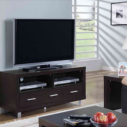 Monarch - Cappuccino 3-drawer 48-inch TV Console - This contemporary 48-inch TV console adds refinement and style to any home. With its sleek dark cappuccino finish and silver hardware accents, the console features shelves for electronic equipment, drawers, and rear holes for wires and cables.