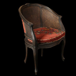 Cane Back Chairs(pair) - A set of 19th century cane back chairs in their original structure that have been newly upholstered with red velvet and a hand stitched flower motif. The chair's frame has been refinished in an antique patina.