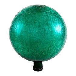 Achla - 12 in.  Gazing Globe, Emerald Green, Crackle - Named  in. Spheres of Light in.  by Antonio Neri in 1612, they are most commonly known to fend off misfortune and deliver happiness and joy. The first gazing globes date back to 13th century Venice. Add color, charm, and good luck with the crackle gazing globes of Achla Designs.. Crackle Emerald Green Finish. 12 in.  Globe. Hand-blown Glass. Sealed at the bottom for longevity. 12 in. D x 12 in. W x 14 in. H