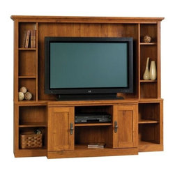 Sauder - Harvest Mill Home Theater in Abbey Oak Finish - 7 Adjustable shelves provide versatile storage. Hidden storage exists behind the doors. Made of engineered wood. Assembly required. 71 in. W x 17 in. D x 62 in. H
